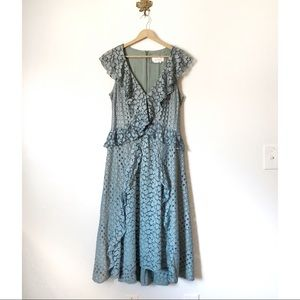 Anthropologie Green Lace ruffle midi dress